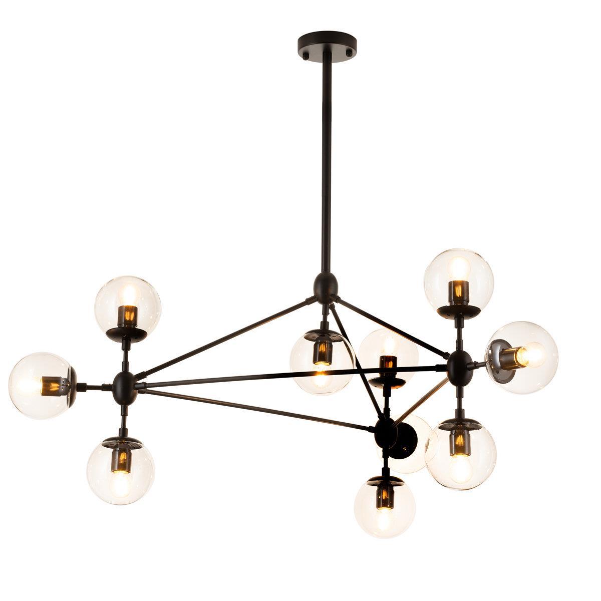 Lampa wisząca ASTRIFERO 10 bursztynowo czarna 91 cm