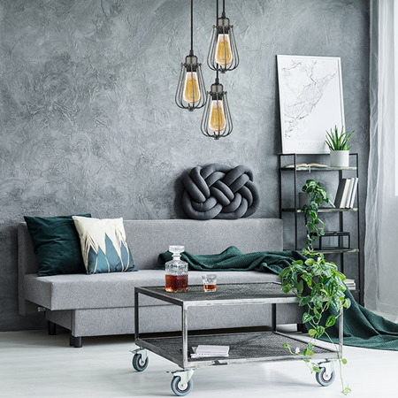 KOPENHAGEN LOFT Steel Grey CO_3 - ŻYRANDOL